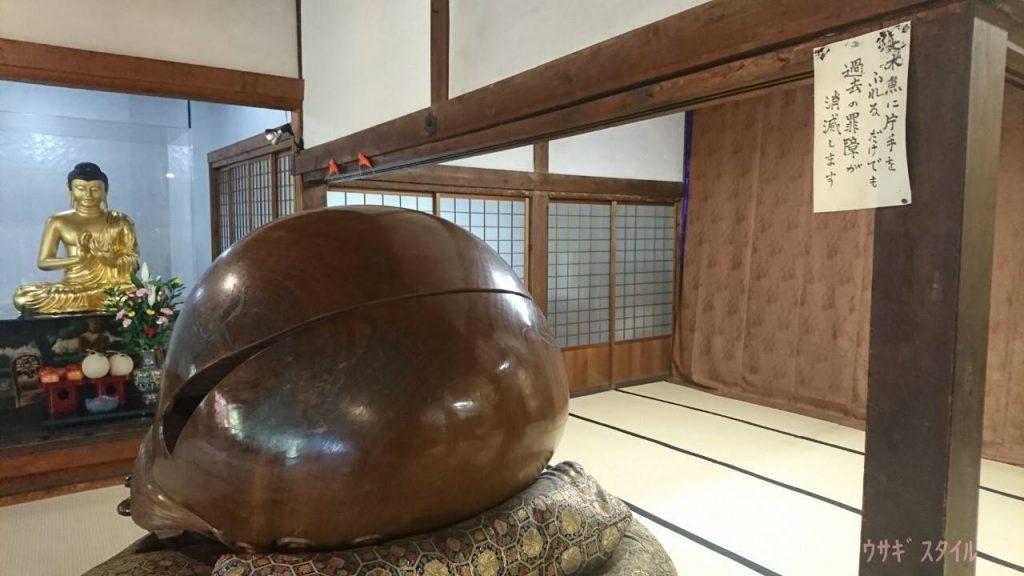 名古屋大仏つるつるの巨大木魚